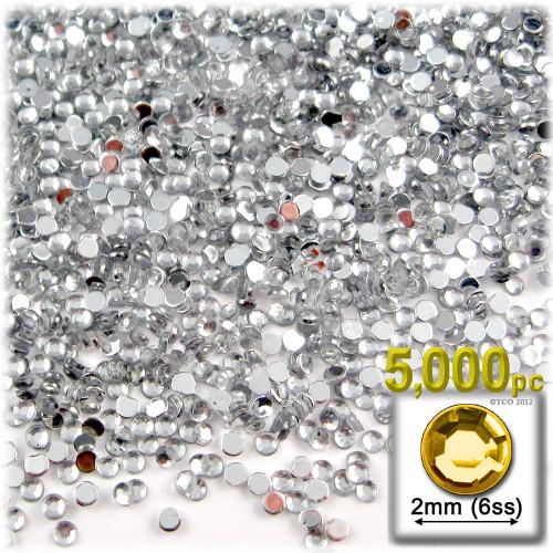 Rhinestones, Flatback, Round, 2mm, 5,000-pc, Clear