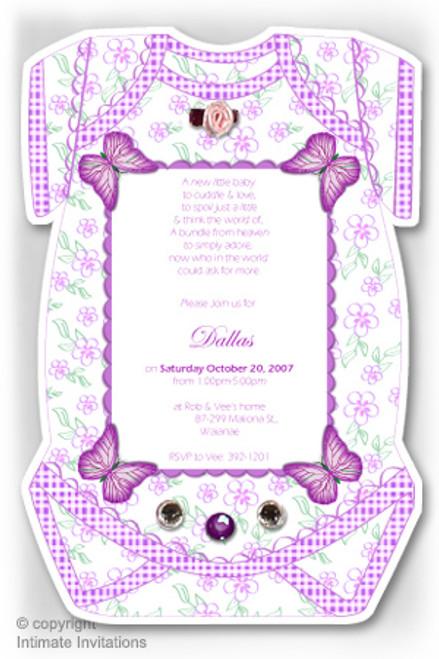 One Baby invitation, Butterflies, ribbon rose, rhinestones, Purple