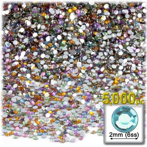 Rhinestones, Flatback, Round, 2mm, 5,000-pc, Pastel Assortment