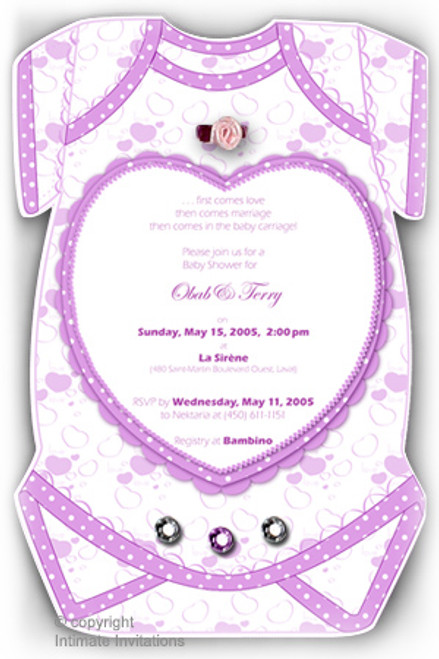 One Baby invitation, Hearts ribbon rose, rhinestones, Purple