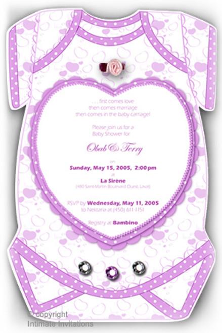 One Baby invitation, Hearts ribbon rose, rhinestones, Purple