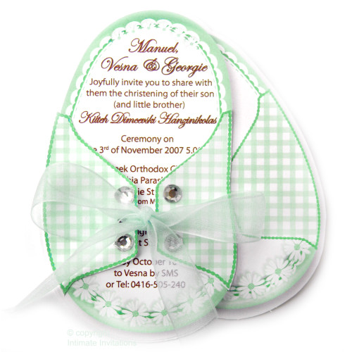 One Baby Booties invitation Daisies ribbon rhinestones, Green