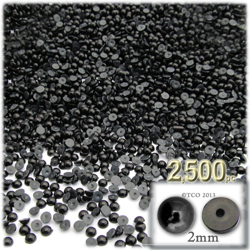 Half Dome Pearl, Plastic beads, 2mm, 2,500-pc, Pitch Black