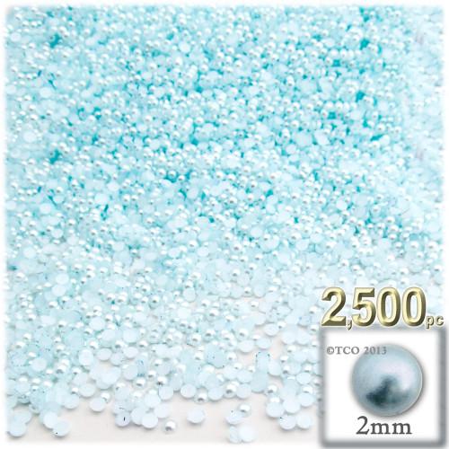 Half Dome Pearl, Plastic beads, 2mm, 2,500-pc, Sky Blue
