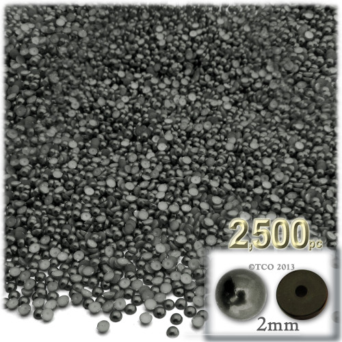 Half Dome Pearl, Plastic beads, 2mm, 2,500-pc, Charcoal Gray