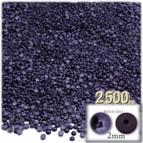 Half Dome Pearl, Plastic beads, 2mm, 2,500-pc, Blueberry Purple