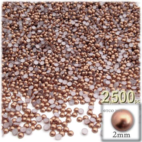 Half Dome Pearl, Plastic beads, 2mm, 2,500-pc, Rustic Copper Brown