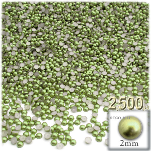 Half Dome Pearl, Plastic beads, 2mm, 2,500-pc, Grass Green