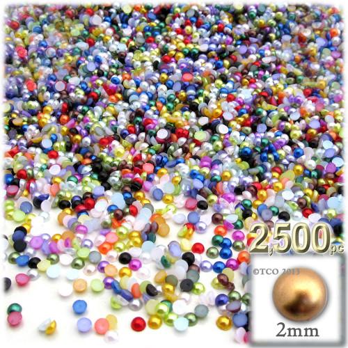 Half Dome Pearl, Plastic beads, 2mm, 2,500-pc, Multi Mix