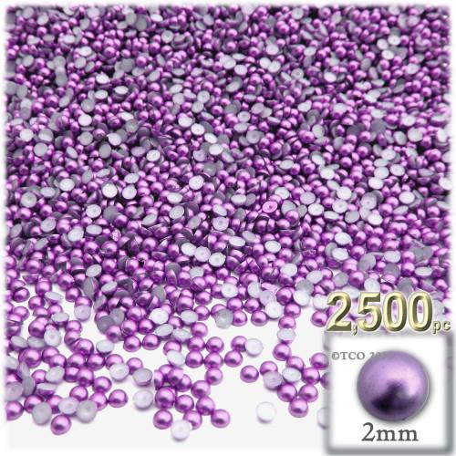 Half Dome Pearl, Plastic beads, 2mm, 2,500-pc, Luxplum Purple