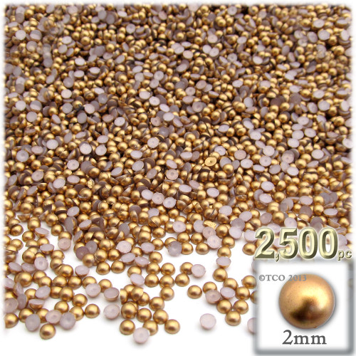 Half Dome Pearl, Plastic beads, 2mm, 2,500-pc, Golden Caramel Brown