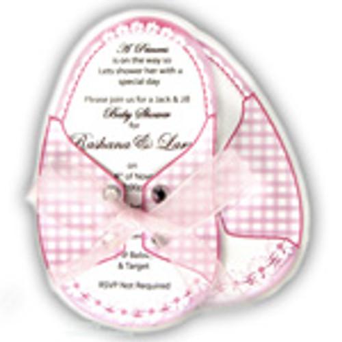 Baby Shower Invitations, Booties ribbon Rinestones, Pink