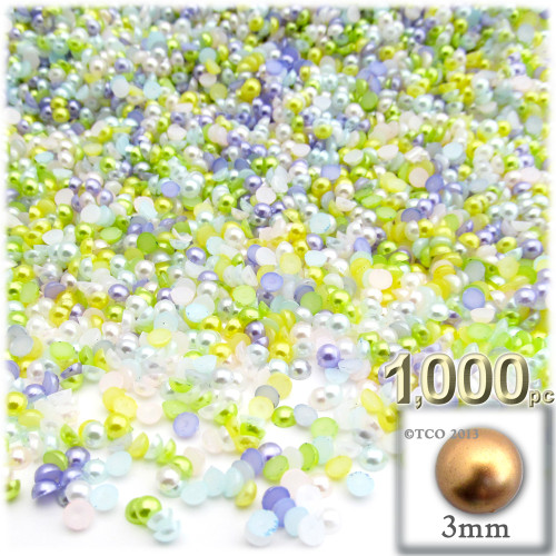 Half Dome Pearl, Plastic beads, 2mm, 2,500-pc, Pastel Mix