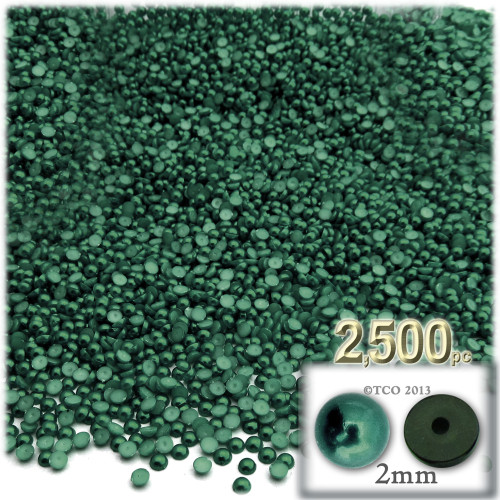 Half Dome Pearl, Plastic beads, 2mm, 2,500-pc, Forest Green