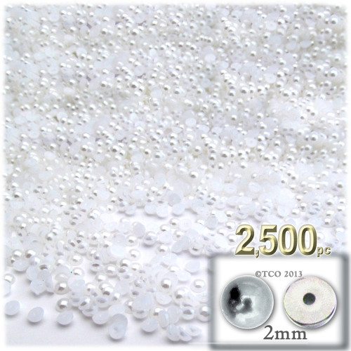 Half Dome Pearl, Plastic beads, 2mm, 2,500-pc, Pearl White