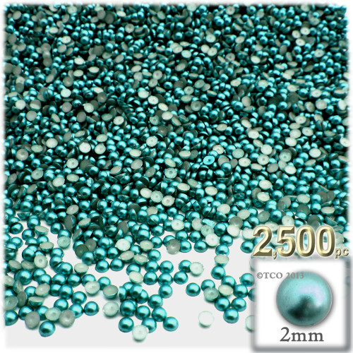 Half Dome Pearl, Plastic beads, 2mm, 2,500-pc, Jade Blue