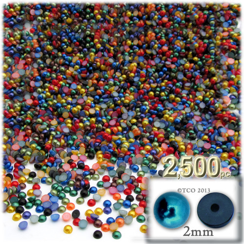Half Dome Pearl, Plastic beads, 2mm, 2,500-pc, Jewel Tone Mix