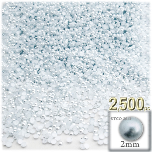 Half Dome Pearl, Plastic beads, 2mm, 2,500-pc, Irish Blue Pearl