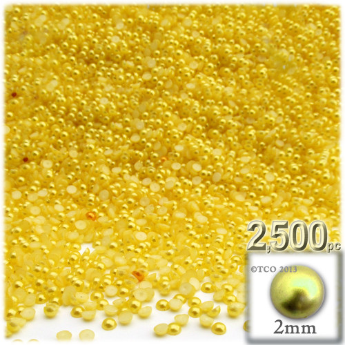 Half Dome Pearl, Plastic beads, 2mm, 2,500-pc, Sunshine Yellow