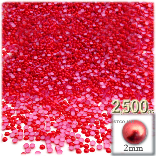 Half Dome Pearl, Plastic beads, 2mm, 2,500-pc, Tulip Red