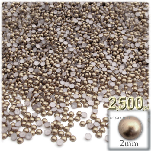 Half Dome Pearl, Plastic beads, 2mm, 2,500-pc, Cocco Butter Brown