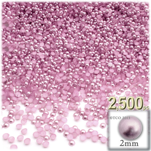 Half Dome Pearl, Plastic beads, 2mm, 2,500-pc, Satin Pink