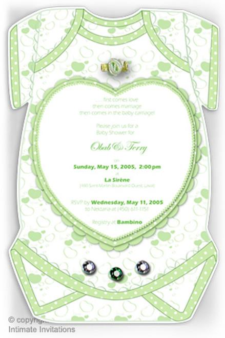 One Baby invitation, Heart, ribbon rose, rhinestones, Green