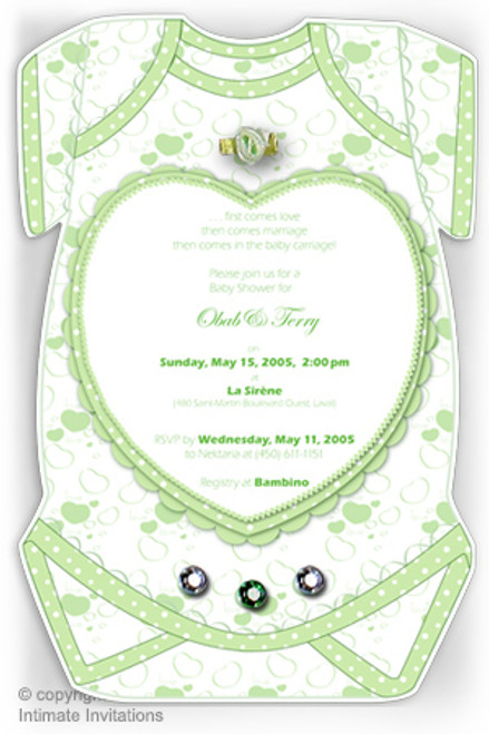 One Baby invitation, Heart, ribbon rose, rhinestones, Green