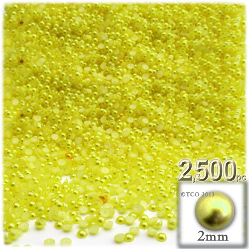 Half Dome Pearl, Plastic beads, 2mm, 2,500-pc, Yellow Rays