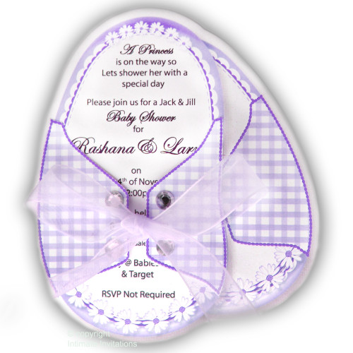 One Baby Booties invitation Daisies ribbon rhinestones, Purple