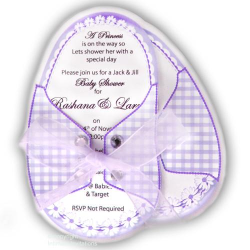 One Baby Booties invitation Daisies ribbon rhinestones, Purple