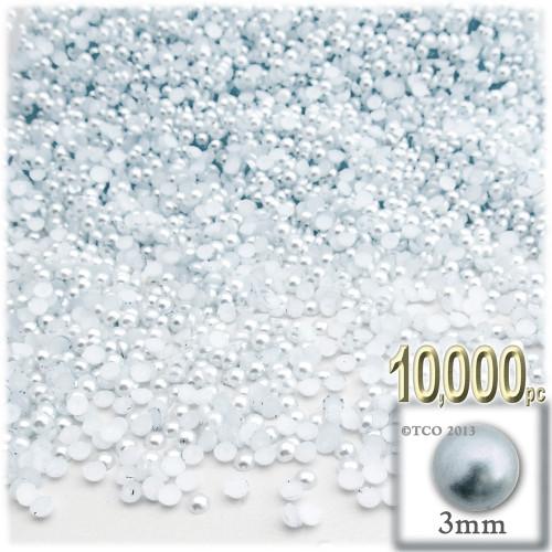 Half Dome Pearl, Plastic beads, 3mm, 10,000-pc, Irish Blue Pearl
