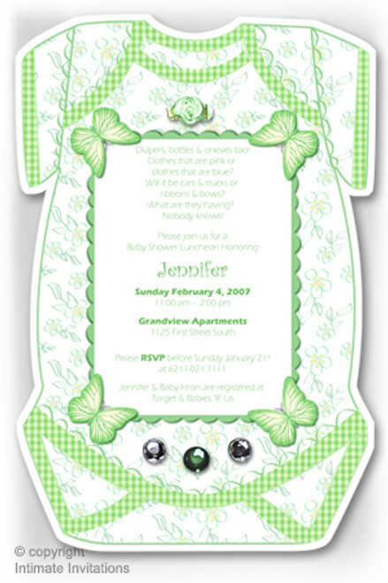 One Baby invitation, Butterflies, ribbon rose, rhinestones, Green