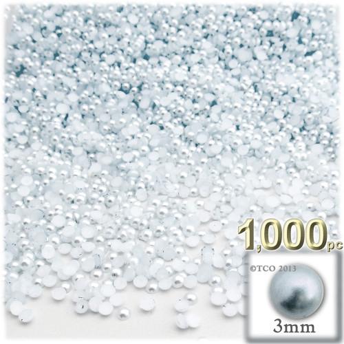 Half Dome Pearl, Plastic beads, 3mm, 1,000-pc, Irish Blue Pearl