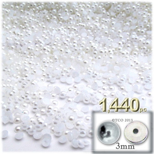Half Dome Pearl, Plastic beads, 3mm, 1,440-pc, Pearl White