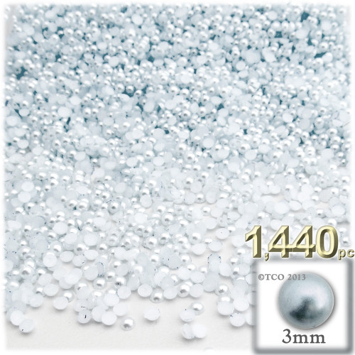 Half Dome Pearl, Plastic beads, 3mm, 1,440-pc, Irish Blue Pearl