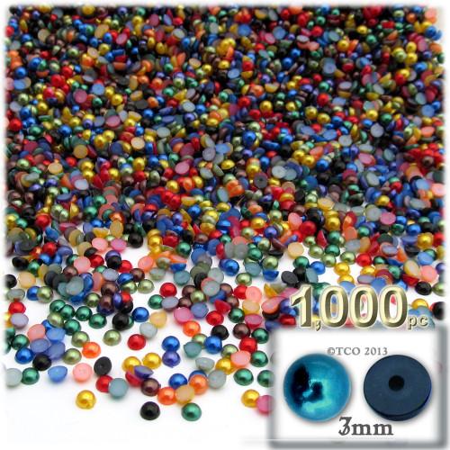 Half Dome Pearl, Plastic beads, 3mm, 1,000-pc, Jewel Tone Mix