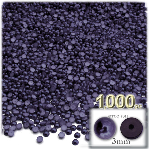 Half Dome Pearl, Plastic beads, 3mm, 1,000-pc, Blueberry Purple