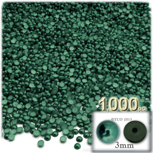 Half Dome Pearl, Plastic beads, 3mm, 1,000-pc, Forest Green