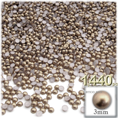 Half Dome Pearl, Plastic beads, 3mm, 1,440-pc, Cocco Butter Brown