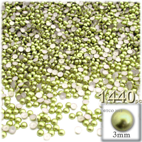 Half Dome Pearl, Plastic beads, 3mm, 1,440-pc, Bright Phosphoric Green