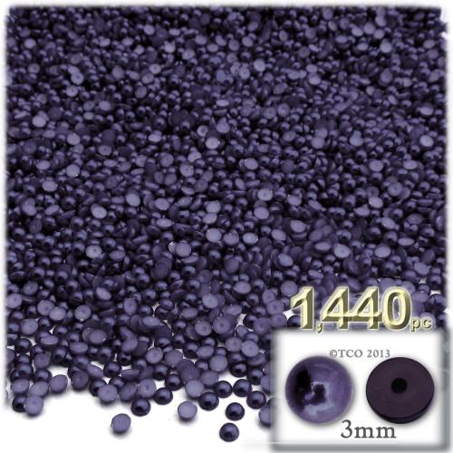 Half Dome Pearl, Plastic beads, 3mm, 1,440-pc, Blueberry Purple