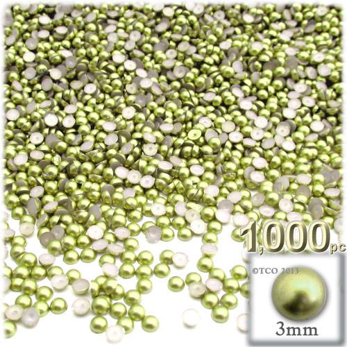 Half Dome Pearl, Plastic beads, 3mm, 1,000-pc, Bright Phosphoric Green