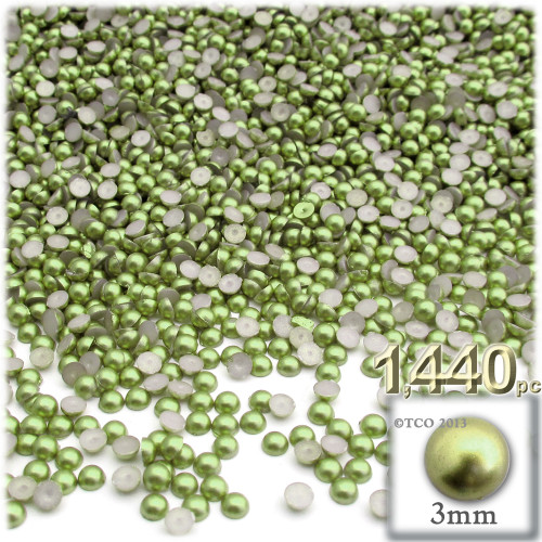 Half Dome Pearl, Plastic beads, 3mm, 1,440-pc, Grass Green