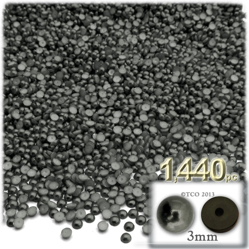 Half Dome Pearl, Plastic beads, 3mm, 1,440-pc, Charcoal Gray