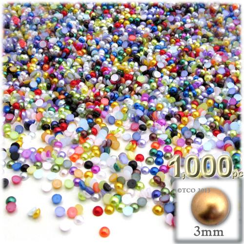Half Dome Pearl, Plastic beads, 3mm, 1,000-pc, Multi Mix