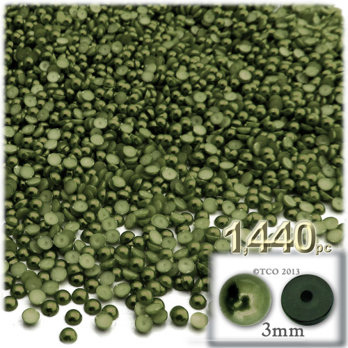 Half Dome Pearl, Plastic beads, 3mm, 1,440-pc, Olive Green