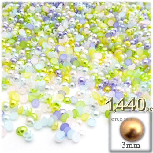 Half Dome Pearl, Plastic beads, 3mm, 1,440-pc, Pastel Mix