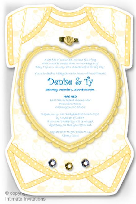 One Baby invitation, Heart, ribbon rose, rhinestones, Yellow