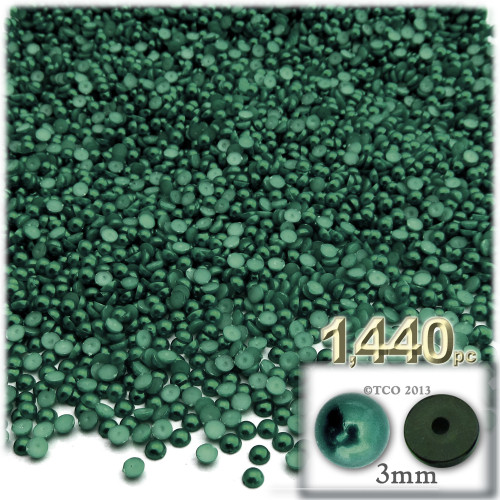 Half Dome Pearl, Plastic beads, 3mm, 1,440-pc, Forest Green